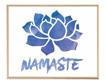 Namaste Art Print, Mindfulness Gift, Blue Watercolor Yoga Print, Namaste Wall Art Yoga Studio Decor Meditation Art Yoga Teacher Gift For Her