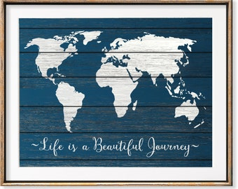 Rustic World Map Art Print, Wanderlust Gifts Print, World Map Print Wood, World Traveler Map, Wedding Gifts For Couple Travel Quote Art