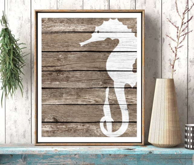 Seahorse Wall Decor Art Beach Wall Art Rustic Nautical Wall | Etsy