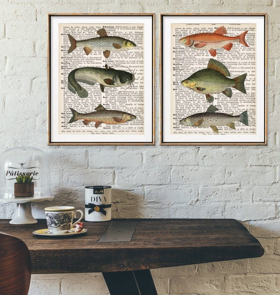 Bon Fish Art, Hunting Decor, Fishing Gift For Men, Mens Office Decor,  Dictionary Page Art, Book Print, Hunting Lodge Decor, Man Cave Wall Art