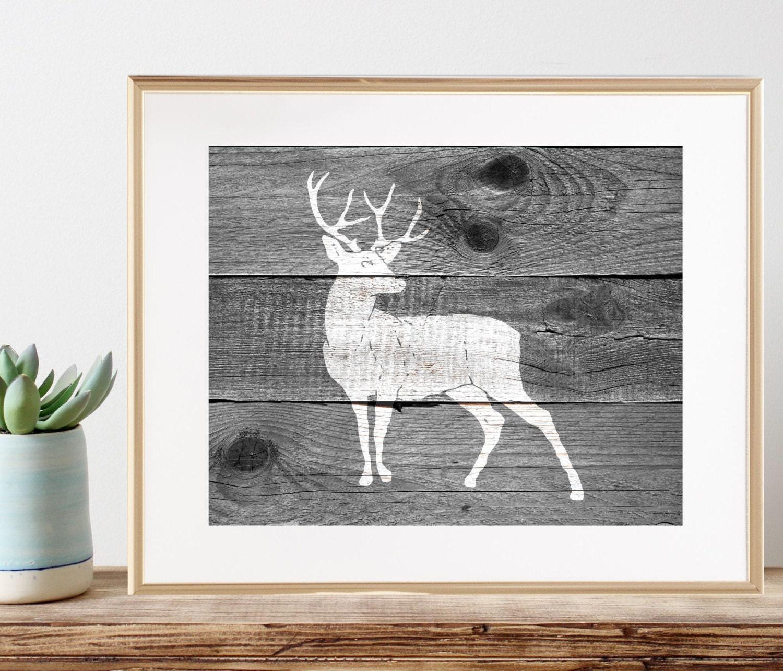 Woodland Reh Wandkunst Jagd Jagd-Geschenke für Männer | Etsy