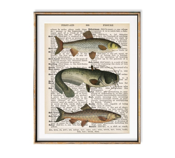 Fish Art Hunting Decor Fishing Gift For Men Mens Office | Etsy