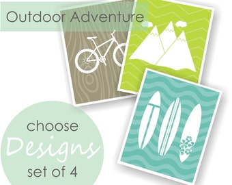 Adventure Room Wall Decor, Camping Nursery Print, Mountain Nursery, Woodland Theme, Surf Nursery, Woodland Playroom Decor - Set of 4