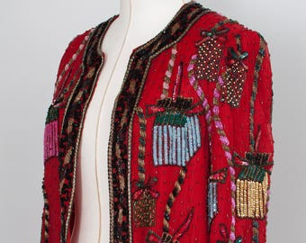 1990's/1980's, Vintage Sequined Jacket, Sequined Blazer, Small, Beaded Multi Colored, Ugly Christmas Sweater