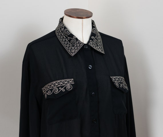 Vintage Blouse, Semi Sheer Blouse, Black Minimal B
