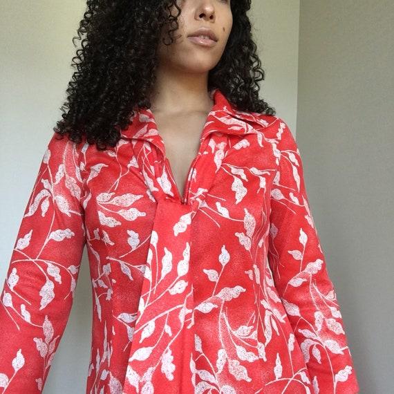 Vintage Wide Collar Patterned Dress, Front Half Zi