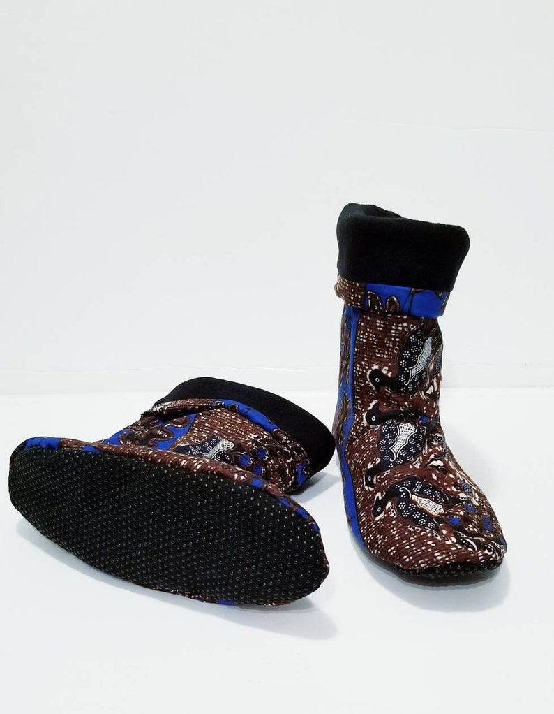 African print cozy house slippers Blue and brown slippers home shoes Etnika warm boots slippers Gift for wedding