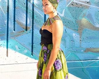 Traditional African Ankara Print Maxi Skirt Kitenge Long Slit Boho Skirt Etnika