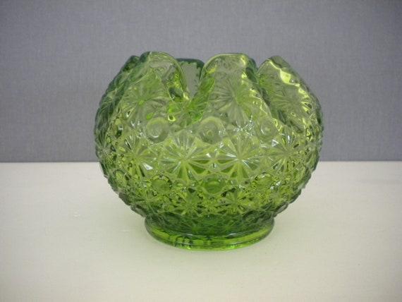 Fenton Green Glass Rose Bowl Vase 1960s Vintage Daisy And Etsy