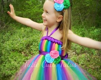 Skittles, candy land, Rainbow Tutu Dress Green, Pink, Blue, Yellow, and Purple.