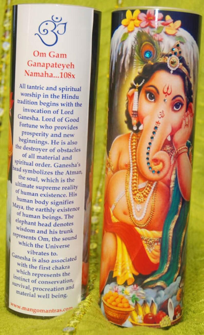 Baby Ganesh Mantra Meditation Candle embellished with Swarovski crystals