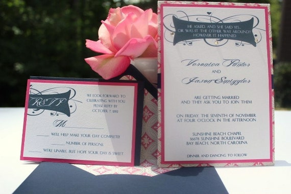 Navy Blue And Silver Wedding Invitations: Wedding Invitations Navy Blue And Hot Pink Metallic Silver
