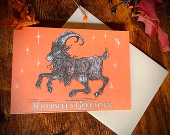 Samhain Goat Halloween Greeting Card