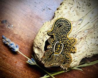 Mischievous Alligator Loki Antique Gold Enamel Pin
