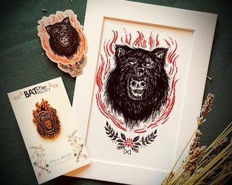 It's a Bear Art Print Pin and Sticker Bundle