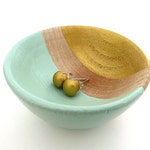 Mint green and gold bowl, wooden ring dish, painted wood bowl, tiny jewelry storage, ring cup, wedding gift, engagement ring dish