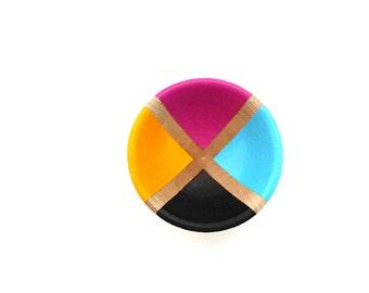 CMYK wood bowl, handpainted dish, wood ring dish, wood ring bowl, tiny wooden bowl, graphic designer gift