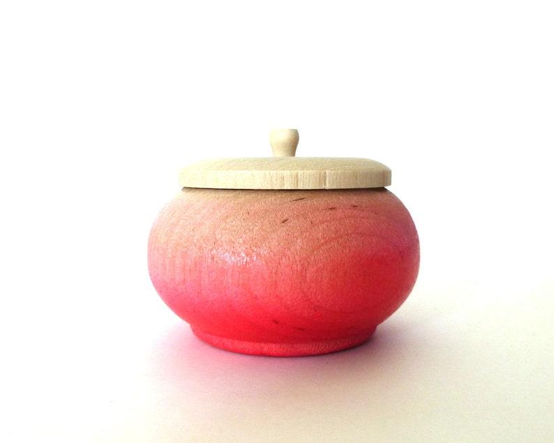 Neon pink ombre jewelry box wood jewelry box tiny box round image 0
