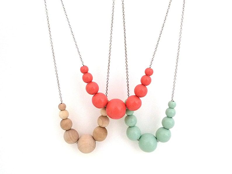 Coral necklace graduated wood bead necklace beaded necklace image 0