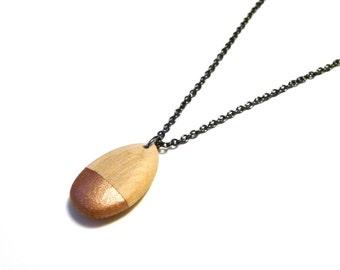 Rose gold teardrop necklace, wood teardrop, teardrop pendant, lightweight necklace, extra long necklace