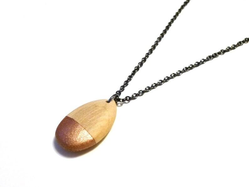 Rose gold teardrop necklace wood teardrop teardrop pendant image 0