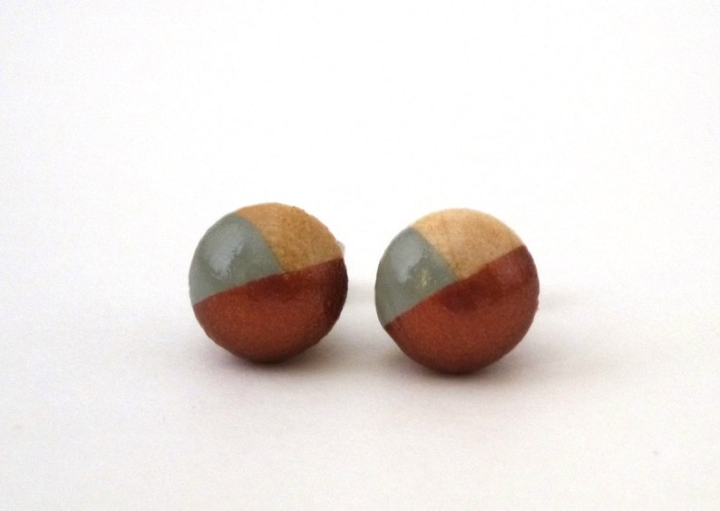 Gray and bronze tiny earrings dipped paint earrings two image 0