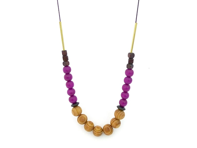 Wooden beaded necklace purple brown necklace minimalist image 0