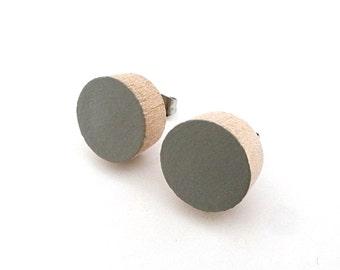 Gray wood post earrings, wood stud earrings, circle earrings, half circle earrings, fake gauges