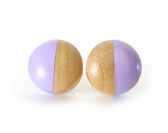 Lavender stud earrings, wood post earrings, purple earrings, lilac earrings, spring colors