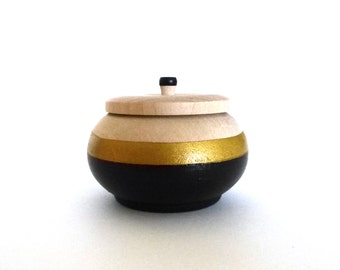 Black and gold wood box, jewelry box, mini jewelry holder, metallic gold and wood, wedding ring box, engagement gift, modern home decor