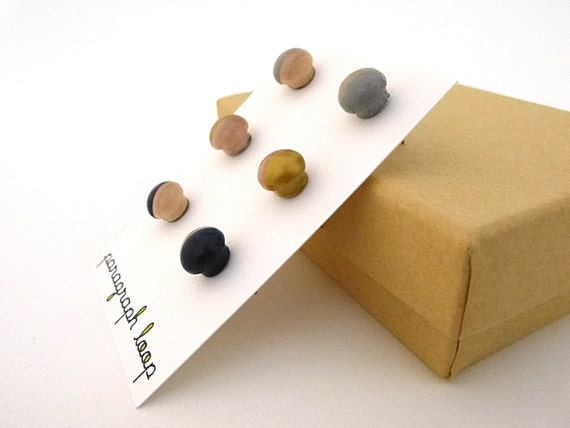Gray Gold And Navy Blue Earring Set Button Post Earrings Little Studs Colorful Earrings Gift For Her