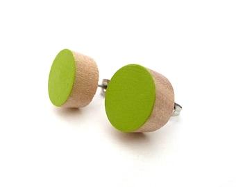 Green wood post earrings, lime green stud earrings, fake gauges, lightweight earrings, simple earrings, chartreuse jewelry