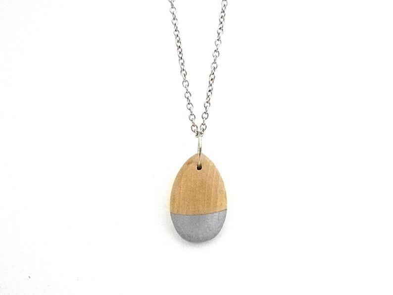 Silver teardrop necklace wood teardrop teardrop pendant image 0