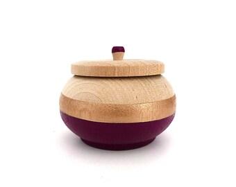 Plum and rose gold wood box, jewelry box, mini jewelry holder, metallic rose gold and wood, purple jewelry box