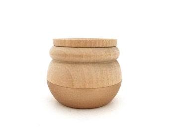 Rose gold wooden jewelry box, wood jewelry box, tiny box, round wood box, painted wood box, metallic box