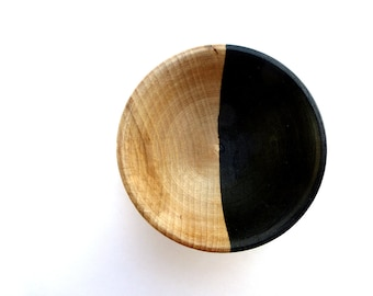Black and wood dish, jewelry dish, ring cup, mini jewelry cup, painted wood bowl