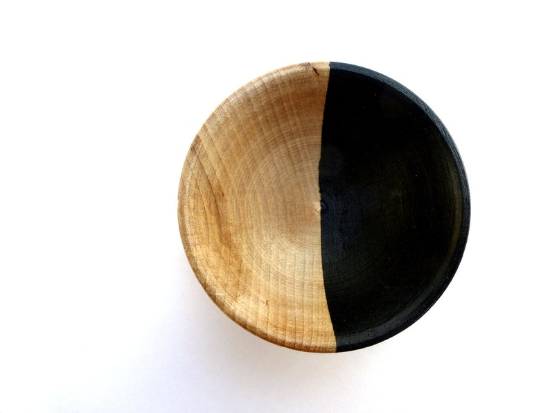 Black and wood dish jewelry dish ring cup mini jewelry cup image 0