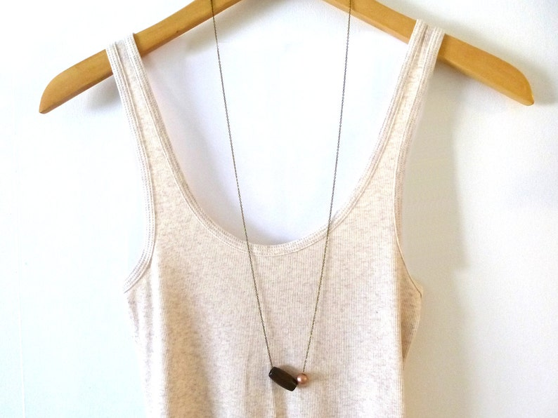Long wood bead necklace layering necklace extra long image 0