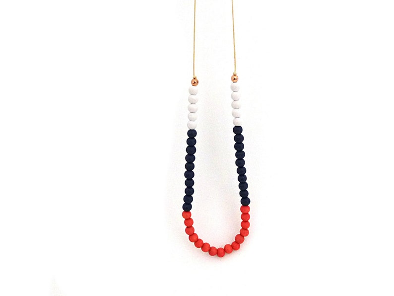Coral and navy blue beaded necklace colorblock necklace long image 0