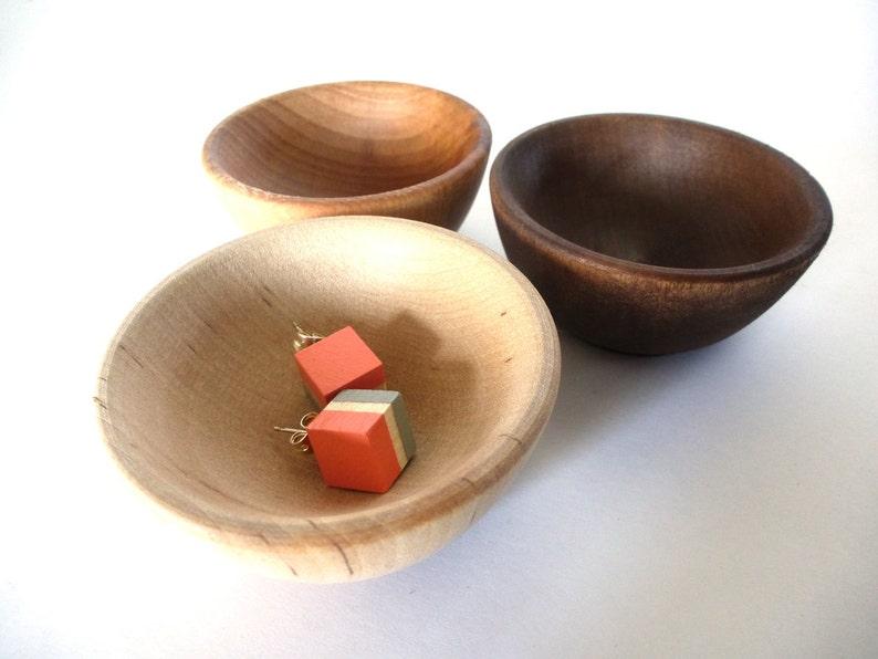 Wood jewelry bowl jewelry dish birch cherry walnut set of image 0