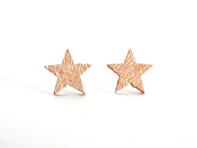 Star stud earrings rose gold studs wood studs star studs image 0