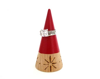 Ring cone, unique ring storage, painted wood decor, jewelry display, painted wooden red, star pattern, gift for her, woodburned decor
