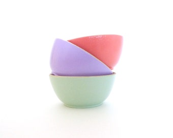 Pastel wood bowl set of 3, spring home decor, tiny jewelry storage, wooden cup