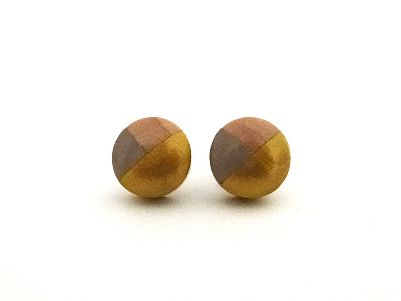 Taupe gray and gold wood post earrings colorblock earrings image 0