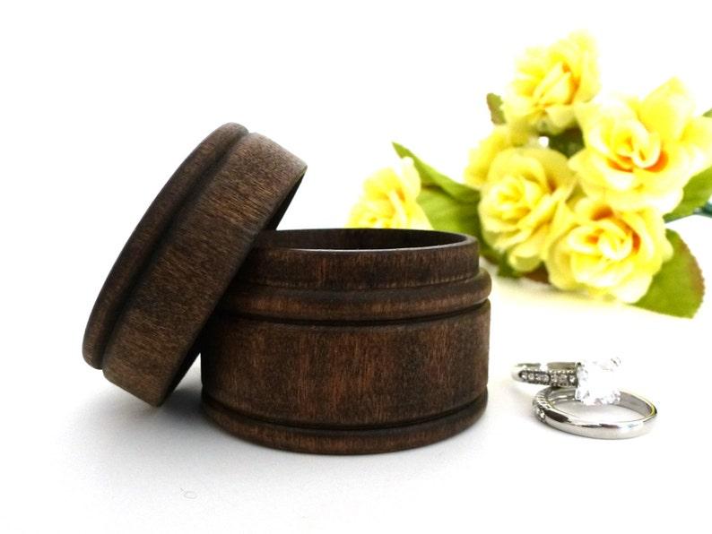 Wood ring box ring bearer box keepsake ring box dark walnut image 0