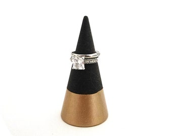 Ring cone, unique ring storage, painted wood decor, jewelry display, walnut stained wood, rose gold wood, color block