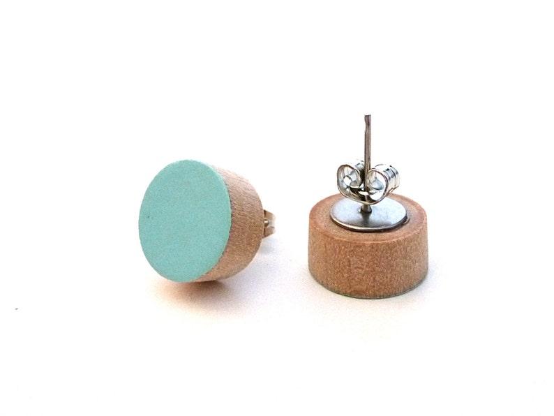 Robin's egg blue earrings wood post earrings lightweight image 0