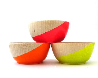 Neon wood bowls, neon slice bowls, set of 3, painted wood bowls, neon and wood, ring bowl, ring dish, ring cup, stocking stuffer