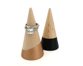 Ring cone, unique ring storage, painted wood decor, jewelry display, stocking stuffer, secret santa gift, gift for her