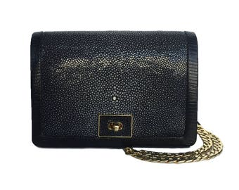Black Messenger Cross Body Clutch Bag - OLA (Small)